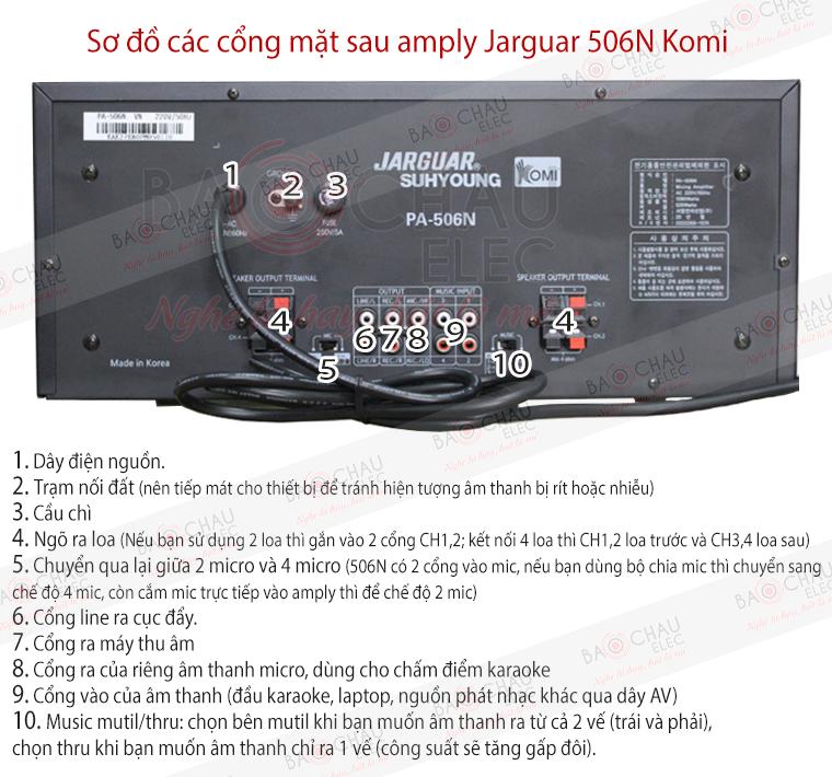 Hướng dẫn kết nối amply Jarguar 506N