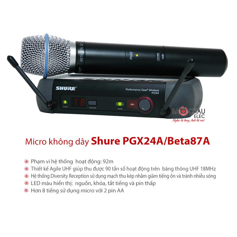 Bộ micro không dây cao cấp Shure PGX24A/Beta87A