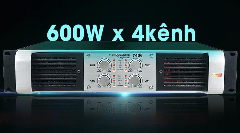Cục đẩy công suất Famousound 7406 khuếch đại âm thanh mạnh mẽ