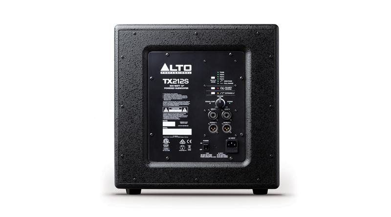 Loa sub điện Alto TX212S có bảng điều khiển ở mặt sau