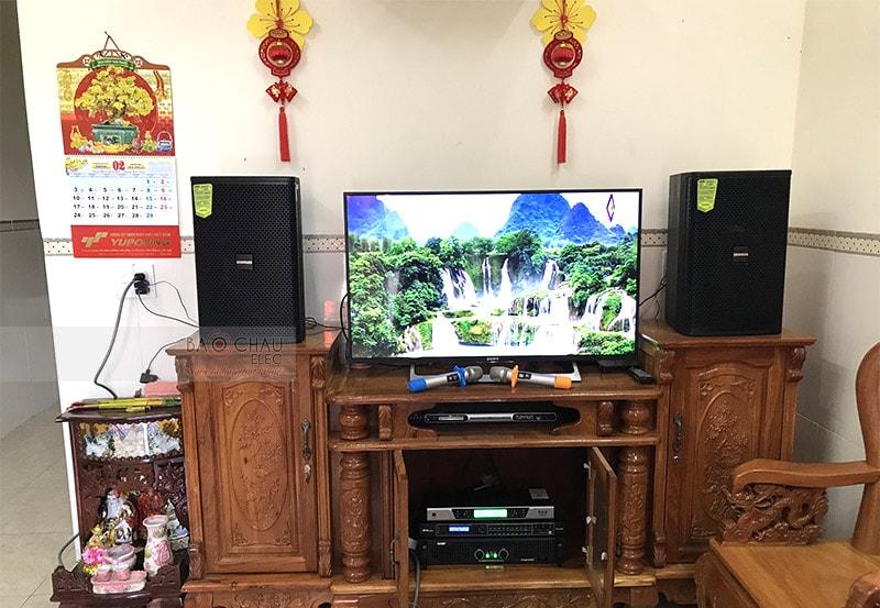 Tổng thể dàn karaoke của gia đình anh Quang sau khi được Bảo Châu Elec lắp đặt hoàn thiện