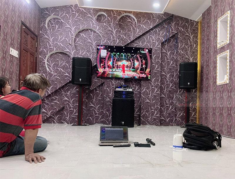Tổng thể dàn karaoke của gia đình anh Hiệp sau khi được Bảo Châu Elec lắp đặt hoàn thiện