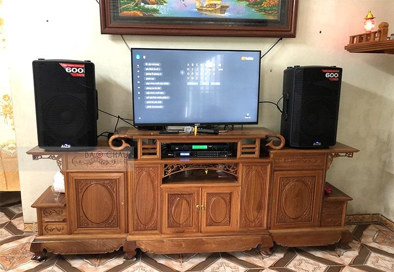 Tổng thể dàn karaoke của gia đình anh Đông sau khi được Bảo Châu Elec lắp đặt hoàn thiện