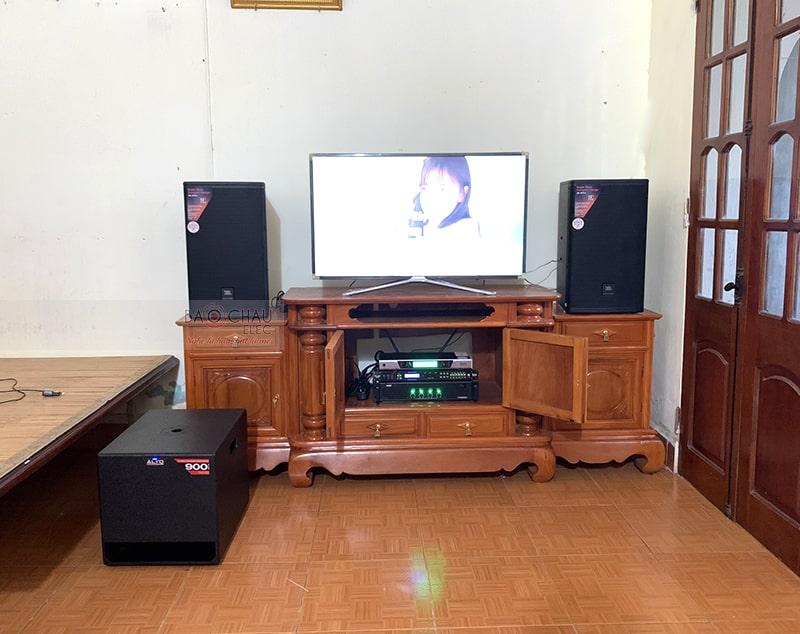 Tổng thể dàn karaoke của gia đình anh Hạnh sau khi được đội ngũ kỹ thuật viên của Bảo Châu Elec lắp đặt hoàn thiện