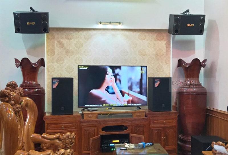 Tổng thể dàn karaoke của gia đình anh Hiền sau khi được Bảo Châu Elec lắp đặt hoàn thiện