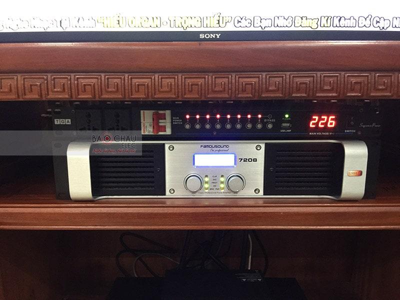 Cục đẩy Famousound 7208 gồm 2 kênh riêng biệt, công suất khủng, trang bị mạch khuếch đạiClass I tiết kiệm điện năng