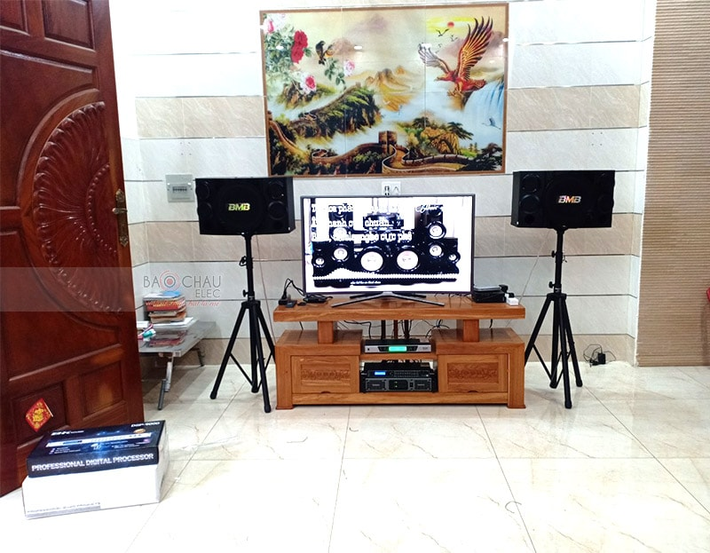 Tổng thể dàn karaoke của gia đình anh Vương sau khi được Bảo Châu Elec lắp đặt hoàn thiện