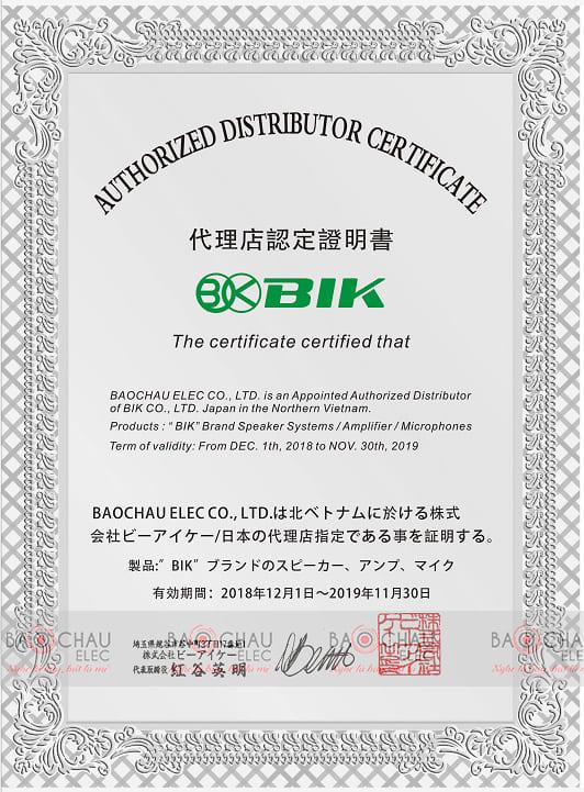 Giấy chứng nhận phân phối chính hãng BIK của Bảo Châu Elec