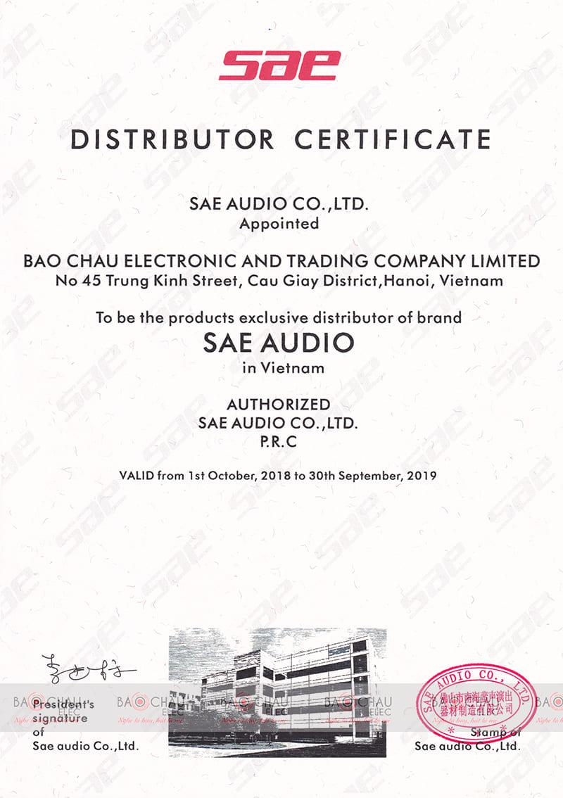 Giấy chứng nhận phân phối chính hãng của SAE cho Bảo Châu Elec