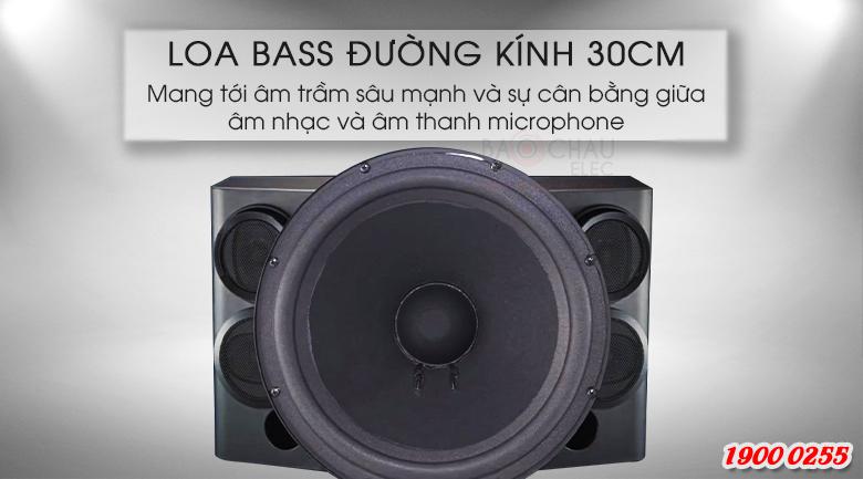 Đường kính bass loa 30cm giúp loa có thể sử dụng cho phòng từ 20-30m2