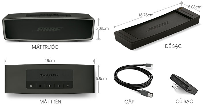Thông số kích thước và phụ kiện của Loa Bluetooth Bose SoundLink Mini II