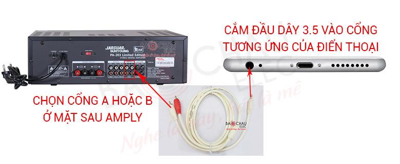 Kết nối điện thoại với amply thông qua dây AV-3.5