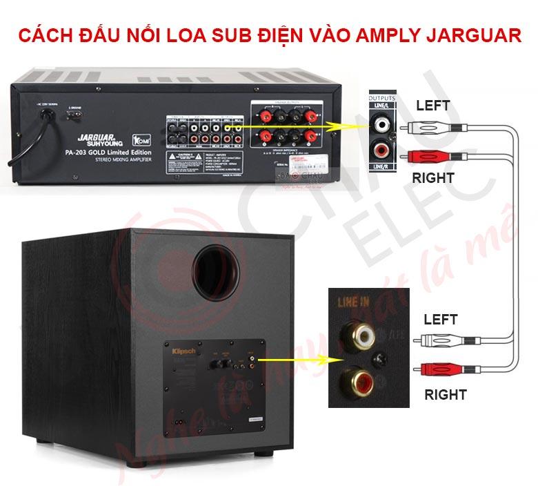 Cách đấu nối amply Jarguar với loa sub điện