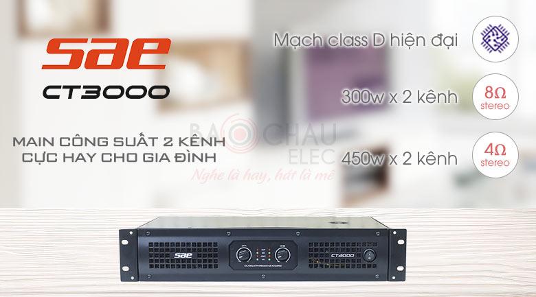 Cục đẩy công suất SAE CT-3000 2 kênh cực hay cho gia đình
