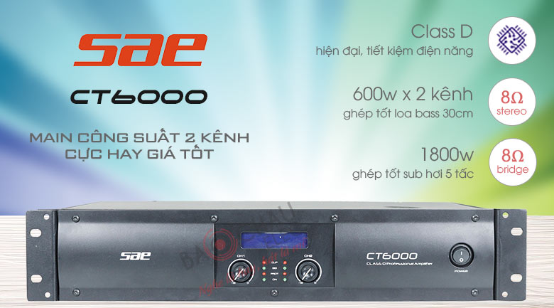 Cục đẩy công suất 2 kênh SAE CT6000 ver 2