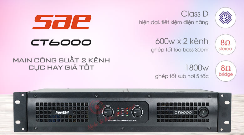 Cục đẩy công suất 2 kênh SAE CT6000 ver 1