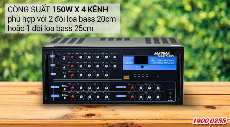 Amply Jarguar Suhyoung 1506KM Bluetooth có thể đáp ứng được nhu cầu phối ghép với2 đôi loa karaokebass 20cm hoặc 1 đôi loa bass 25cm