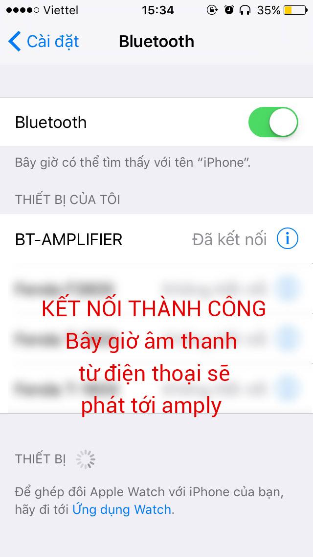Kết nối điện thoại và amply qua Bluetooth. B2