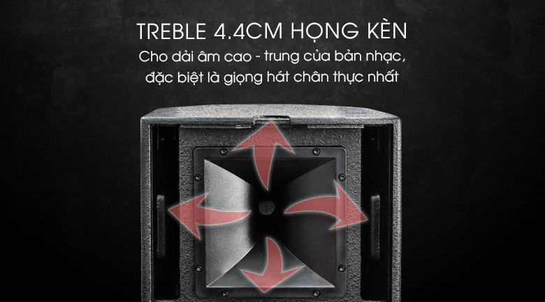 Họng treble kèn 4.4cm cho âm thanh bay xa, trong sáng