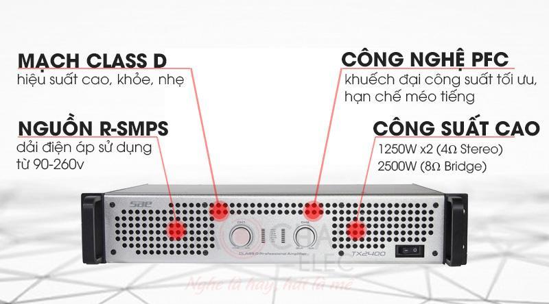 Cục đẩy công suất SAE TX2400 thiết kế hiện đại