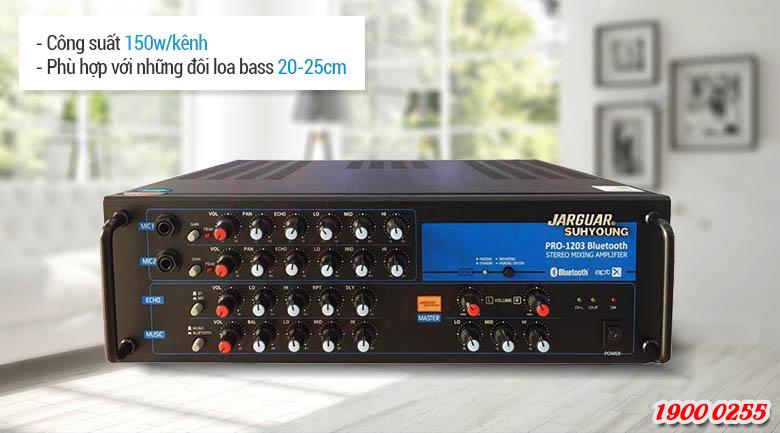 Amply karaoke Jarguar Suhyoung Pro 1203KM Bluetooth mang lại cho bạn những tiếng nhạc sống động