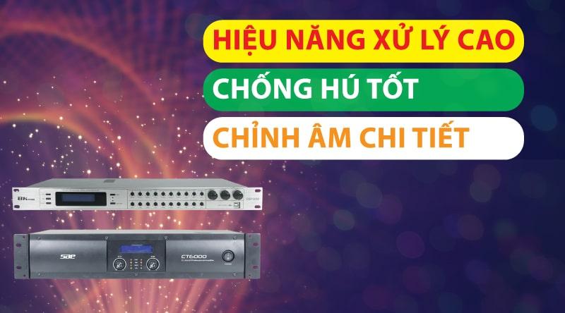 Cục đẩy công suất kết hợp cùng vang số mang đến khả năng khuếch đại và xử lý tín hiệu âm thanh vô cùng chuyên nghiệp