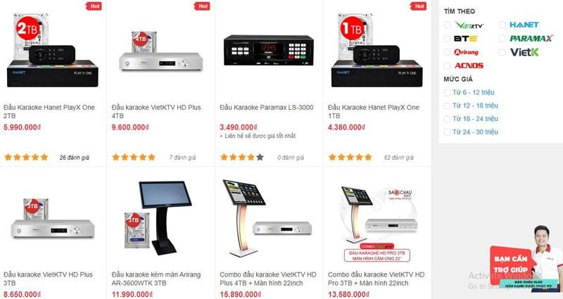 Các mẫu đầu karaoke được bán tại showroom Bảo Châu Elec HCM