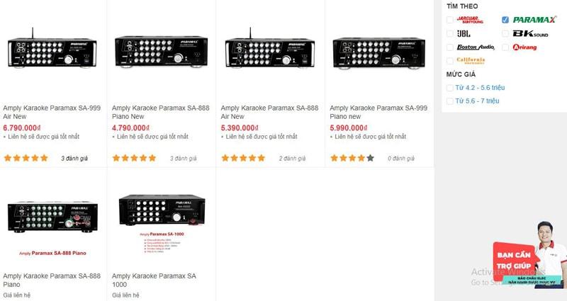Các mẫu amply karaoke Paramax có tại Bảo Châu Elec TPHCM