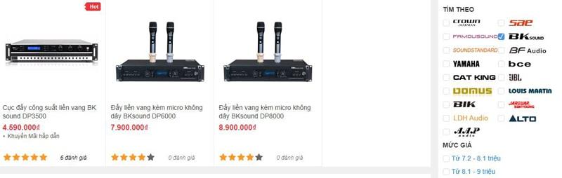 Các mẫu cục đẩy BK Sound đang có tại Bảo Châu Elec HCM
