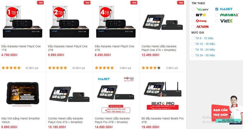 Các mẫu đầu karaoke Hanet đang được bán tại Bảo Châu Elec TPHCM