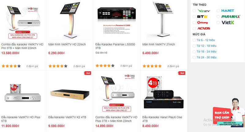 Các mẫu đầu karaoke được bán tại showroom Bảo Châu Elec Hà Nội