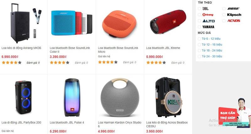 Các mẫu loa Bluetooth được bán tại tại showroom Bảo Châu Elec Đà Nẵng