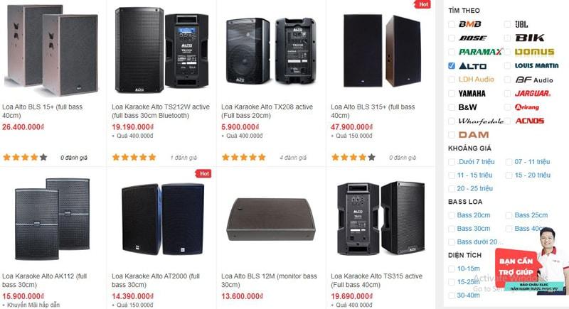 Các mẫu loa karaoke Alto đang được bán tại showroom Bảo Châu Elec