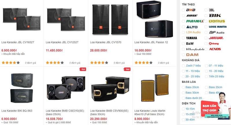 Các mẫu loa karaoke đang được bán tại showroom Bảo Châu Elec Đà Nẵng