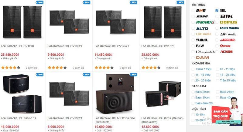 Các mẫu loa karaoke JBL được bán tại showroom Bảo Châu Elec Đà Nẵng