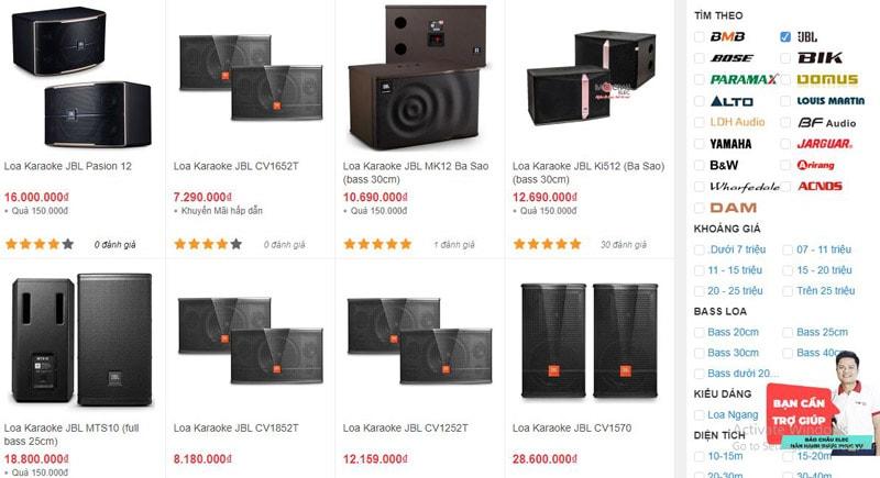 Các mẫu loa karaoke JBL được bán tại showroom Bảo Châu Elec Hà Nội