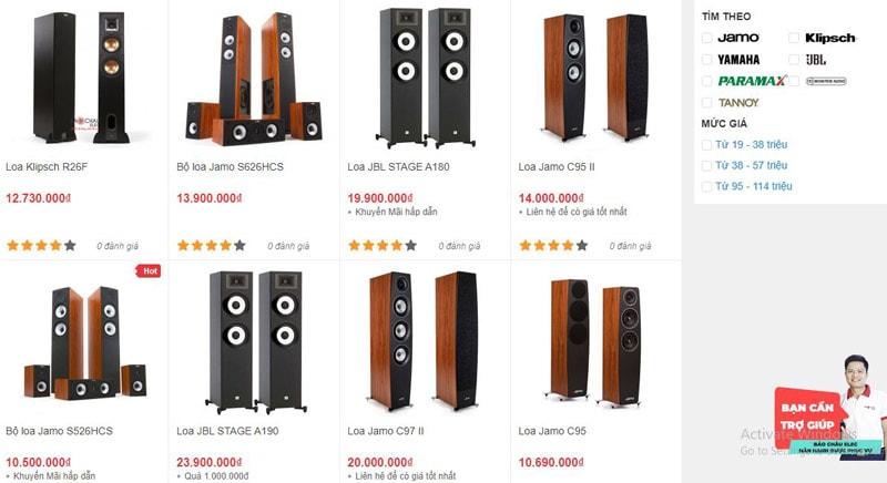 Các mẫu loa nghe nhạc đang được bày bán tại showroom Bảo Châu Elec Hà Nội