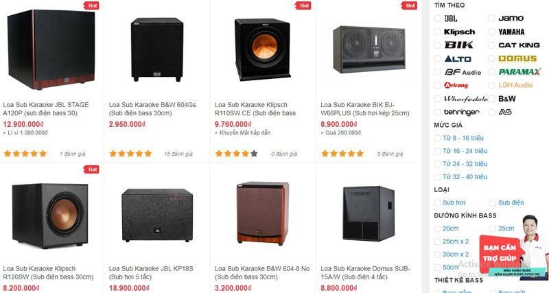 Các mẫu loa sub karaoke đang được bán tại showroom Bảo Châu Elec Hà Nội