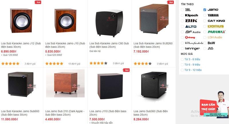 Các mẫu loa sub Jamo được bán tại showroom âm thanh Bảo Châu Elec HCM