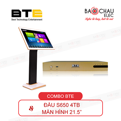 Combo đầu karaoke BTE S650 4TB + Màn 21.5