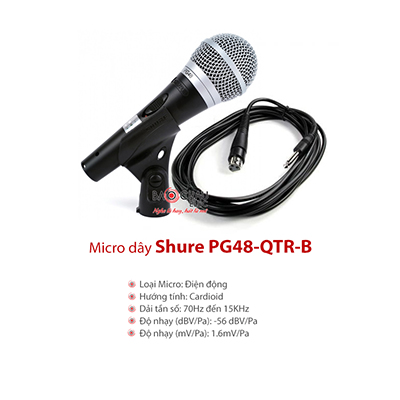 Micro có dây Shure PG48-QTR-B