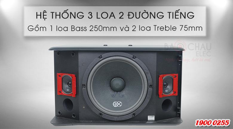 Hệ thống 2 đường tiếng gồm 3 loa, trong đó có 1 loa bass 25cm và 2 loa treble 7.5cm của loa BIK BJ-S886II
