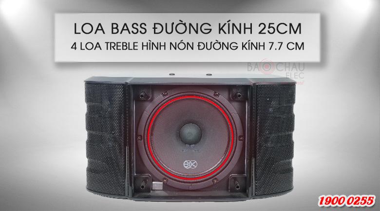 Loa BIK BS-998X là hệ thống 2 đường tiếng với cấu tạo 5 loa, trong đó có 1 loa bass 25cm