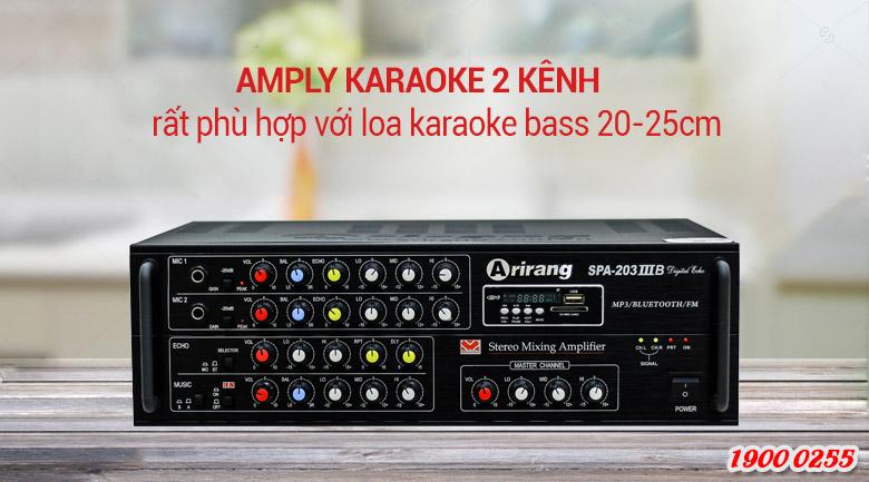 Amply Arirang 203IIIB với loa bass 20-25cm