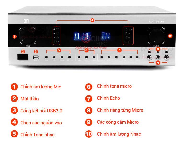 Amply karaoke JBL KAR3502 - chức năng mặc trước