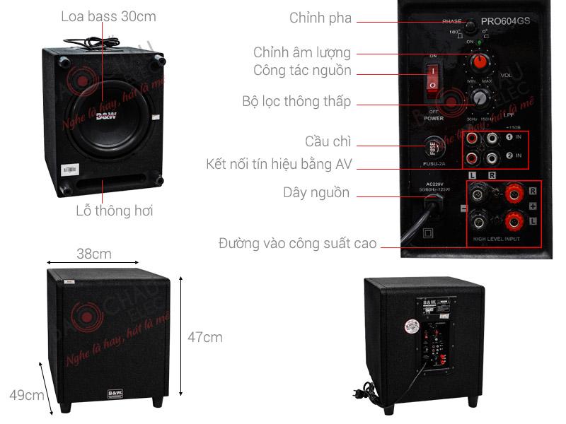 Loa Sub Karaoke B&W 604Gs (Sub điện bass 30cm)