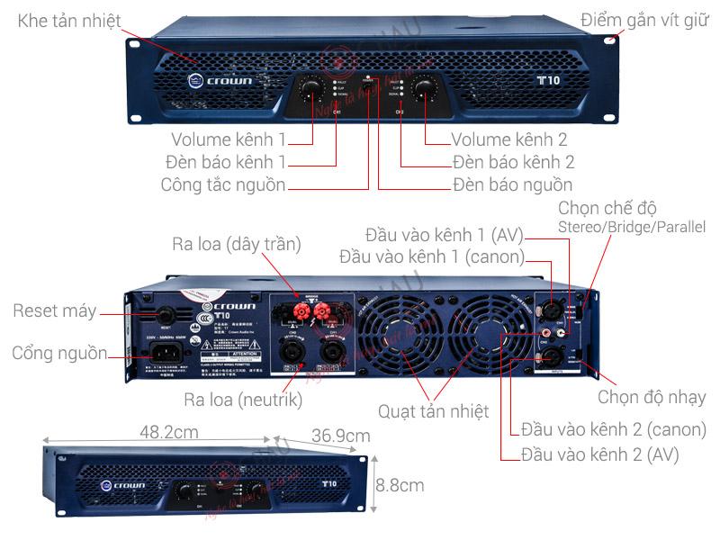 Cục đẩy công suất Crown T10 (2CHx1000W)
