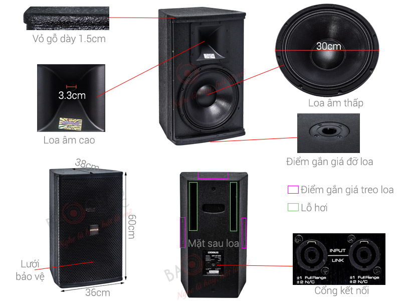 Loa Karaoke Domus DP6120 (Full đơn bass 30cm)