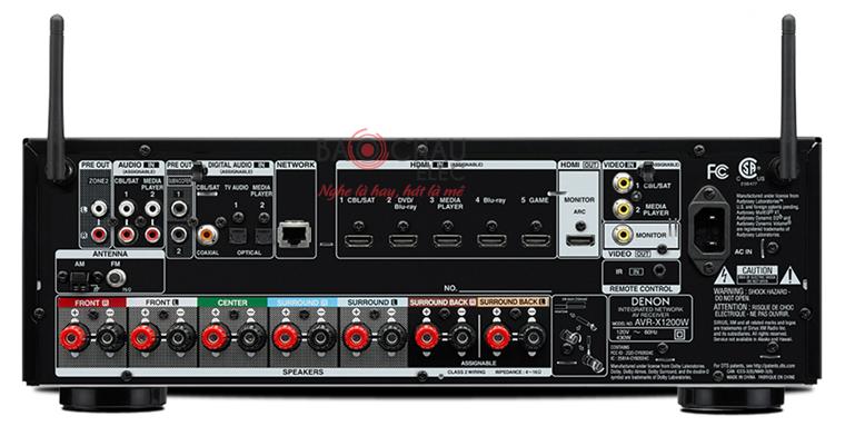 Amply Denon AVR-X1200W - mặt sau