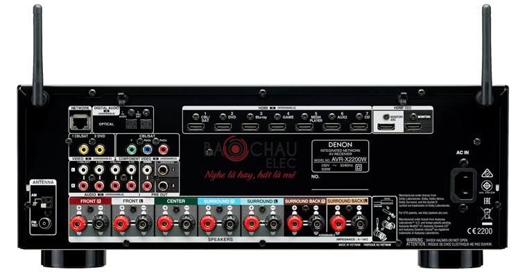 Amply Denon AVR-X2200W - mặt sau